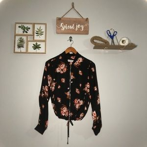 Cloud Chaser Floral Bomber Zip-Up Blouse